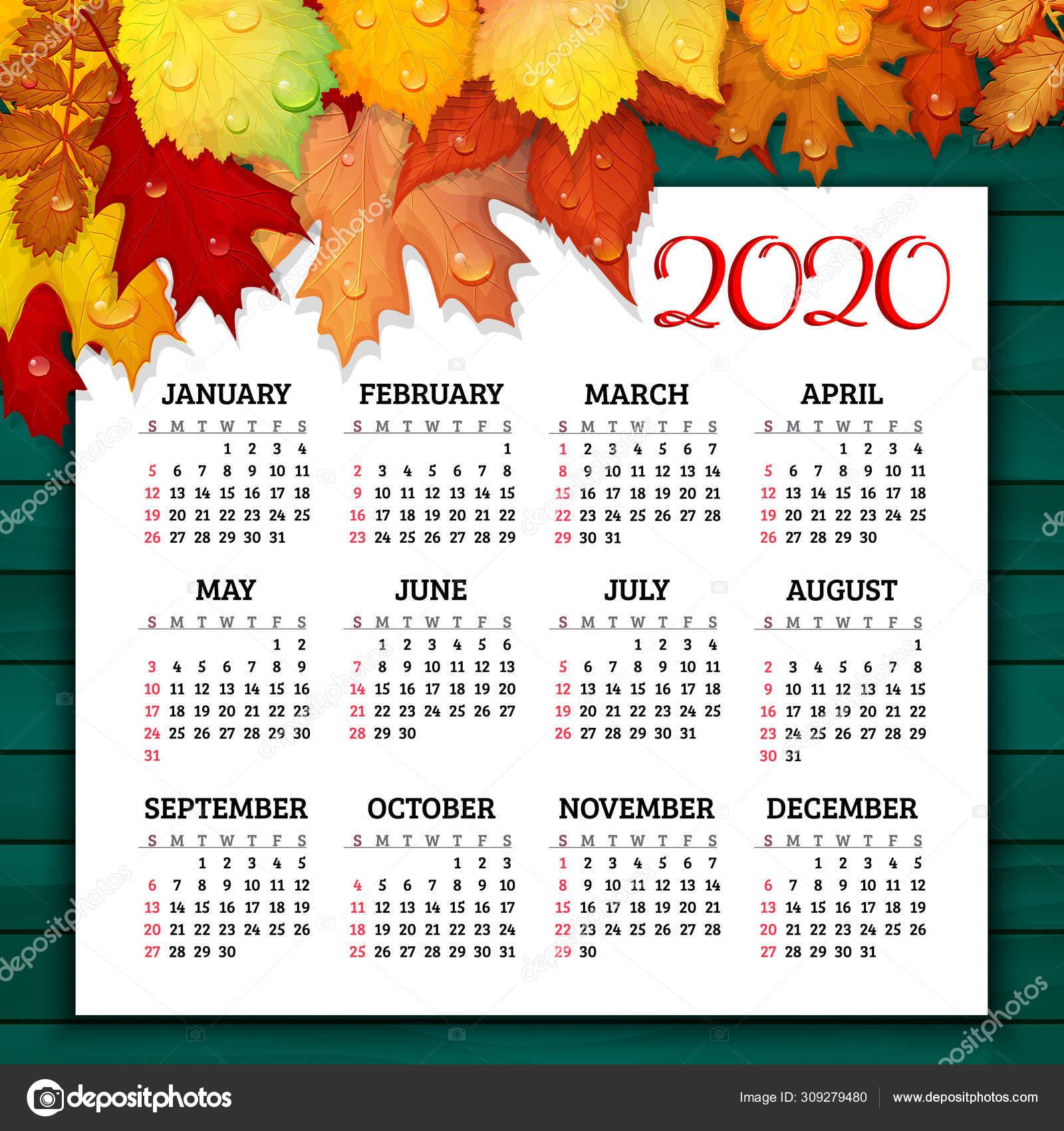 Календарь На 2020 Год С Красочными Осенними Листьями На