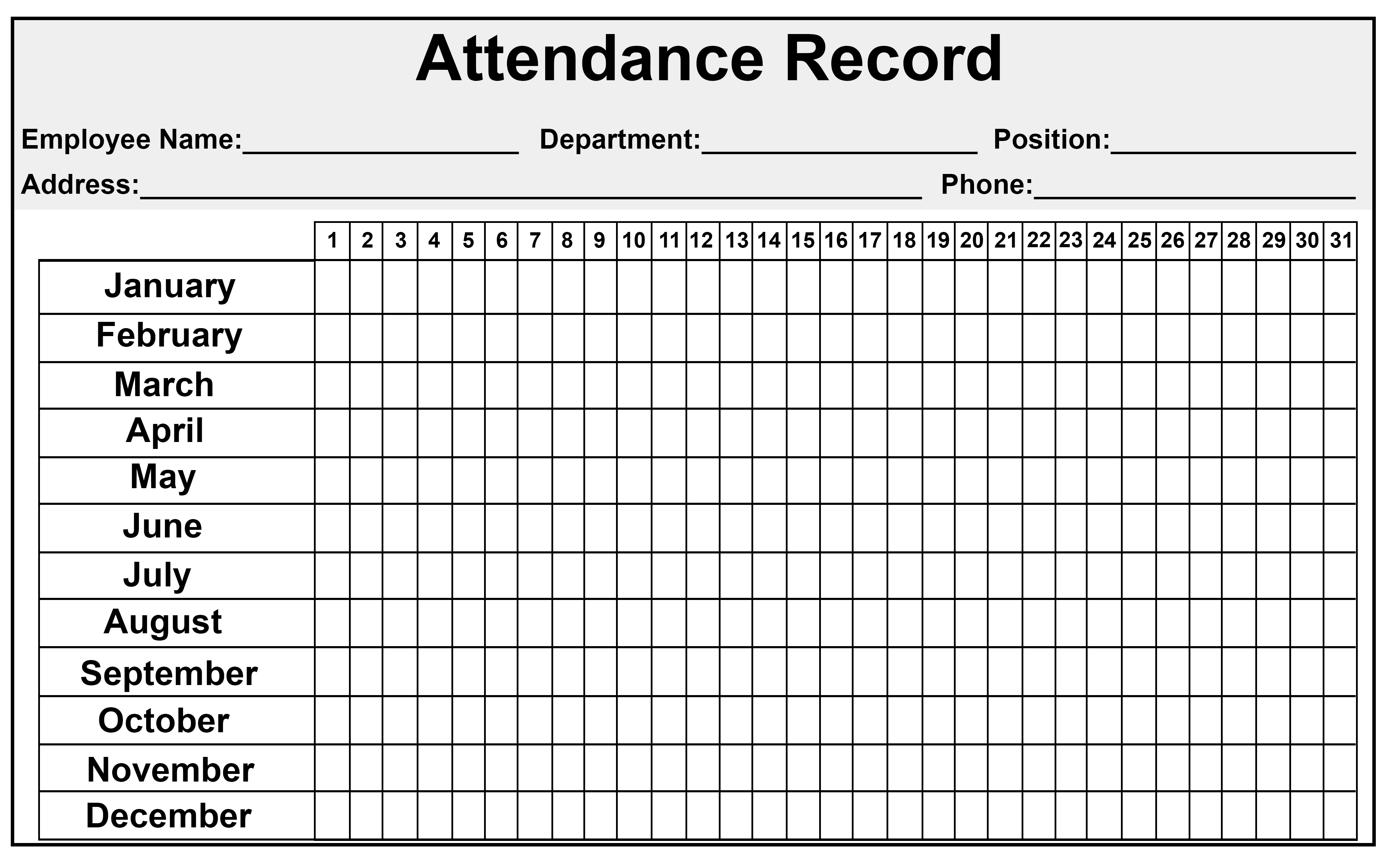Daily/monthly Employee Attendance Sheet Template Free