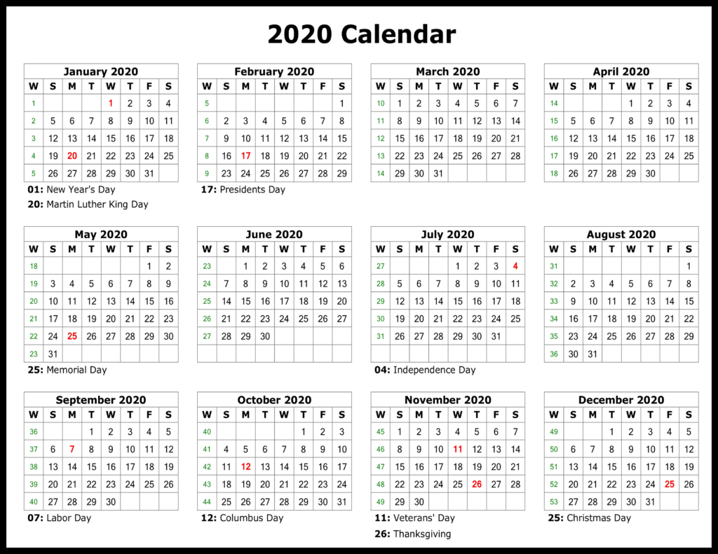 [%❤️free Yearly 2020 Printable Calendar Templates [Pdf, Word|2020 Yearly Calendar With Holidays Printable|2020 Yearly Calendar With Holidays Printable%]
