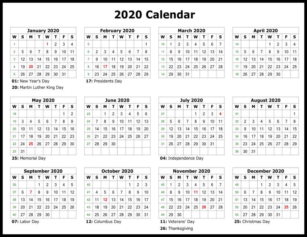 [%❤️free Yearly 2020 Printable Calendar Templates [Pdf, Word|Printable Calendar 2020|Printable Calendar 2020%]