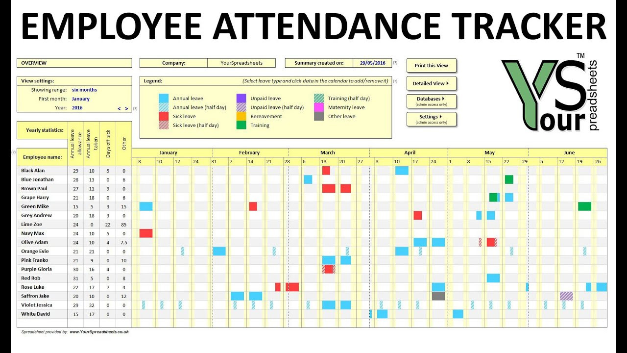 Excel Attendance Tracker Template Unique Printable