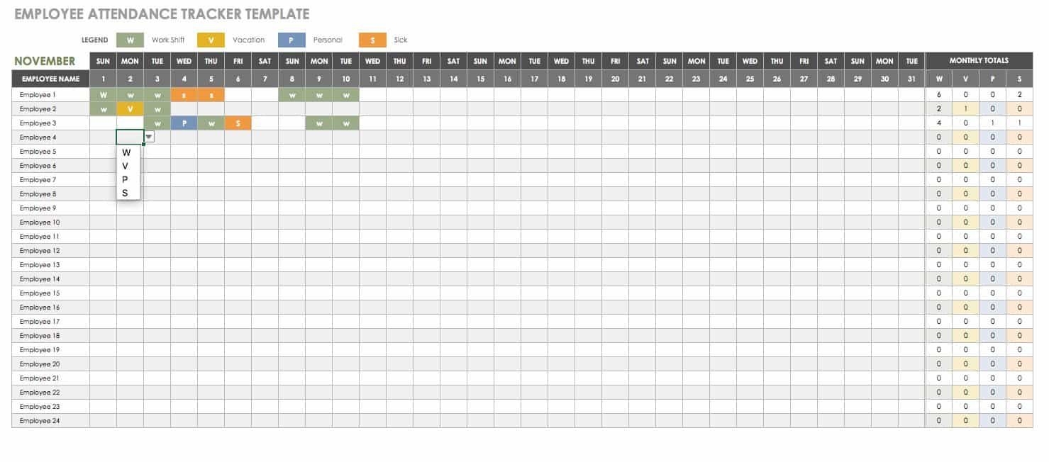 Excel Attendance Tracker Template - Wpa.wpart.co