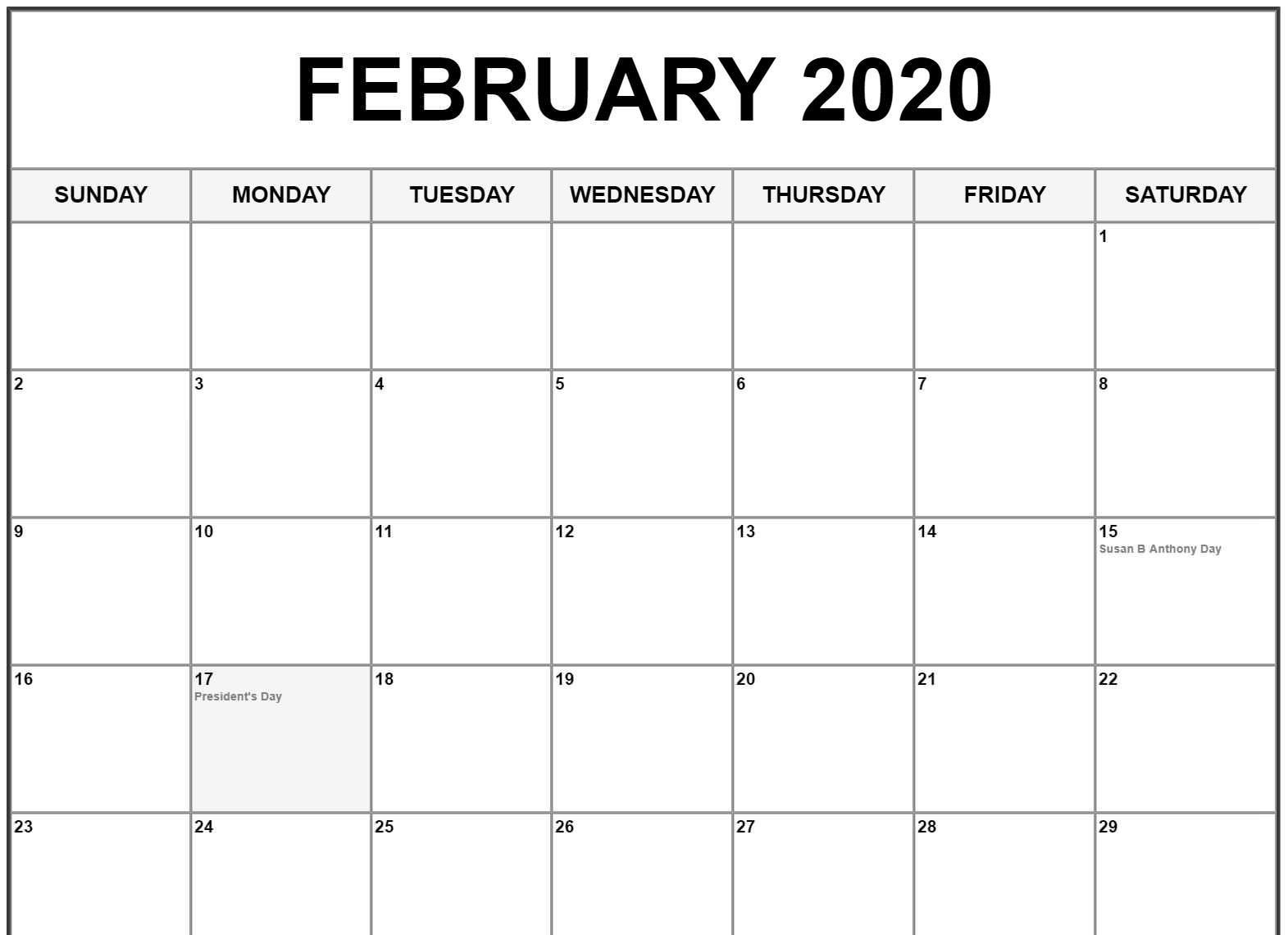 February 2020 Calendar Us Holidays