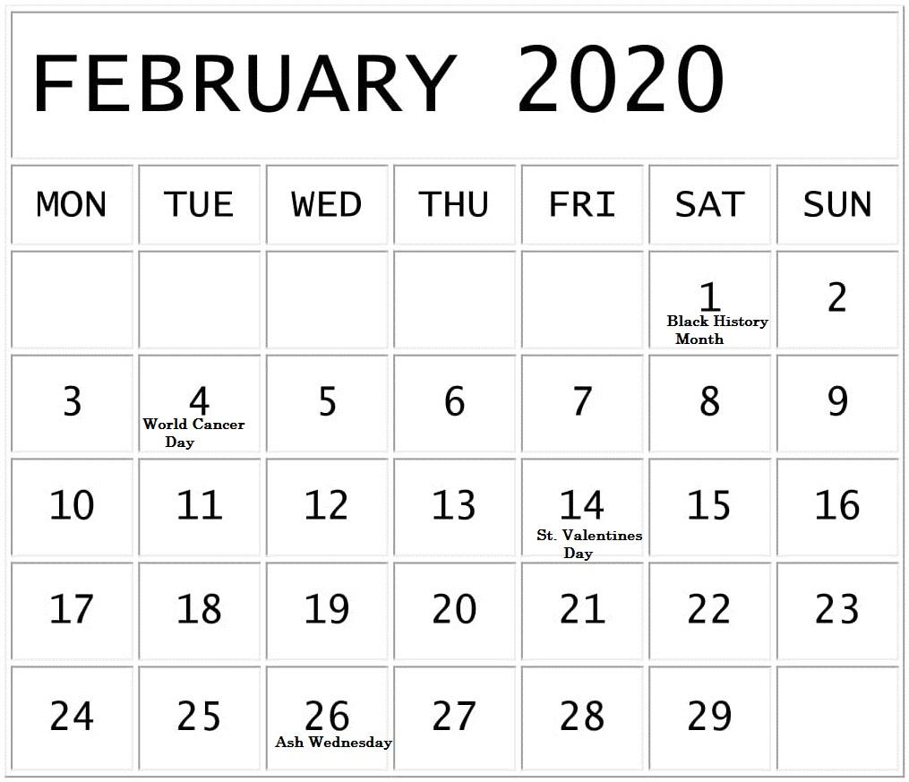 February 2020 Calendar With Holidays Usa,uk, Canada – Free