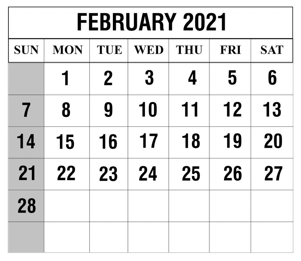 February 2021 Blank Calendar