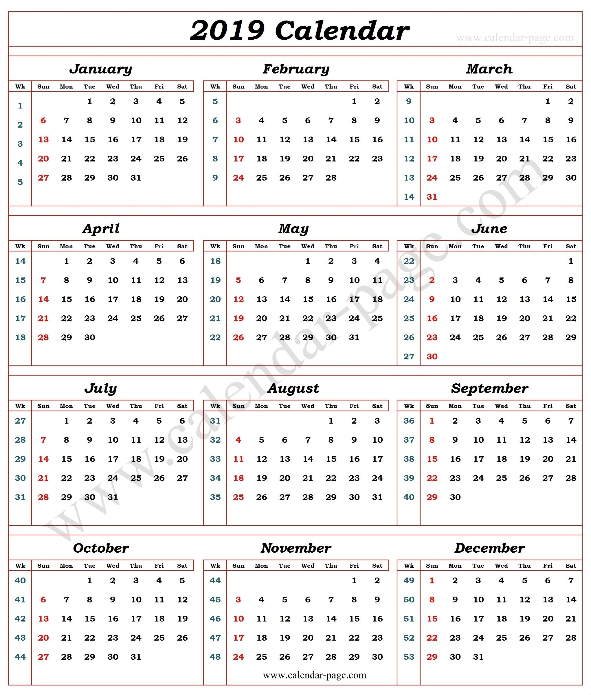 Fine Calendarweek Number 2019 : Mini Calendar Template