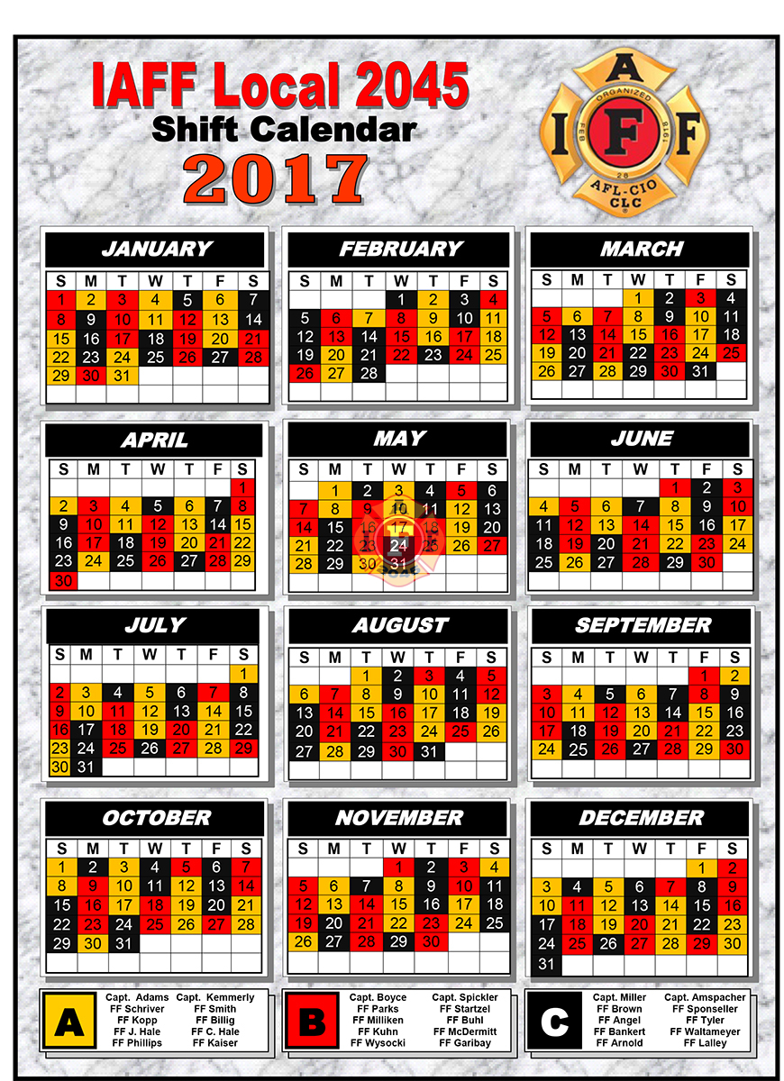Firefighter Shift Calendar Large