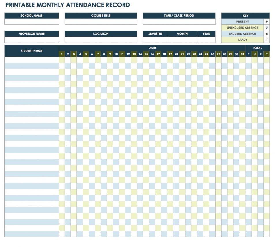 Free Attendance Tracker Template - Wpa.wpart.co