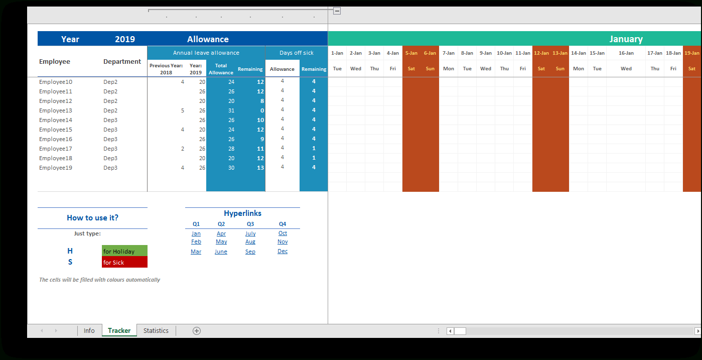 Free Employee Attendance Tracker Spreadsheet Free Printable
