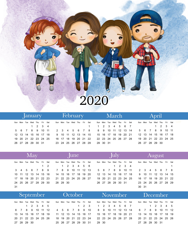 Free Printable 2020 Gilmore Girls Calendar - The Cottage Market