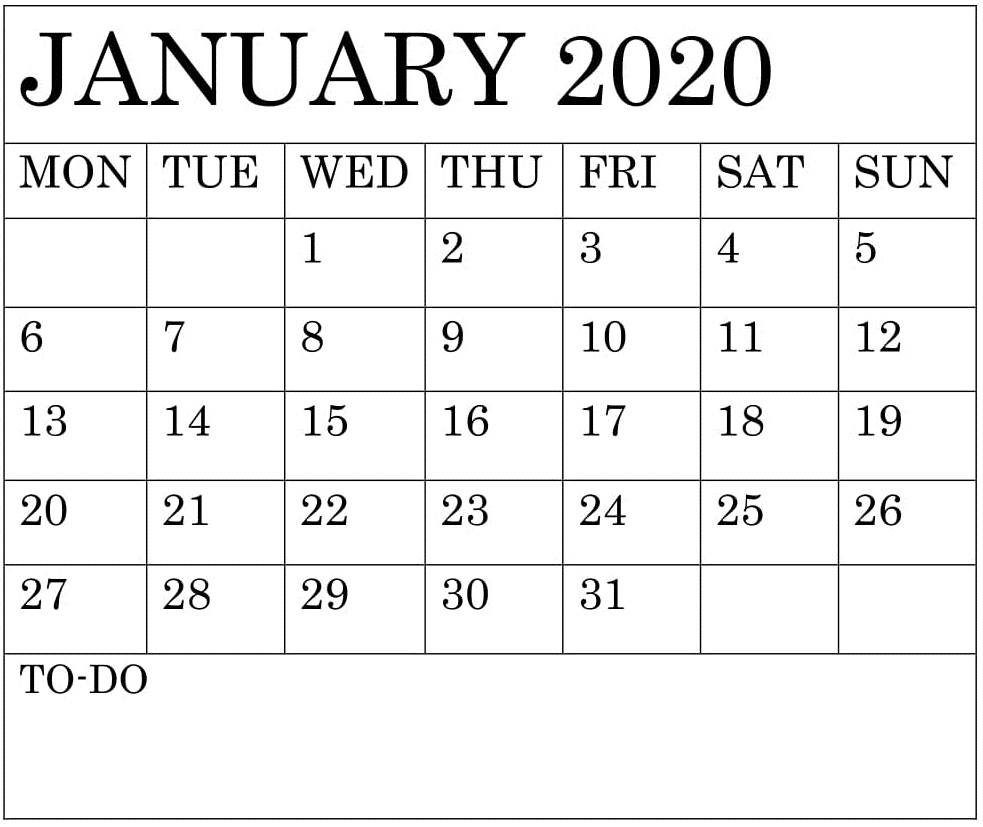 Free 2020 Printable Calendar Templates: Free Printable Monthly Calendar 2020 Template