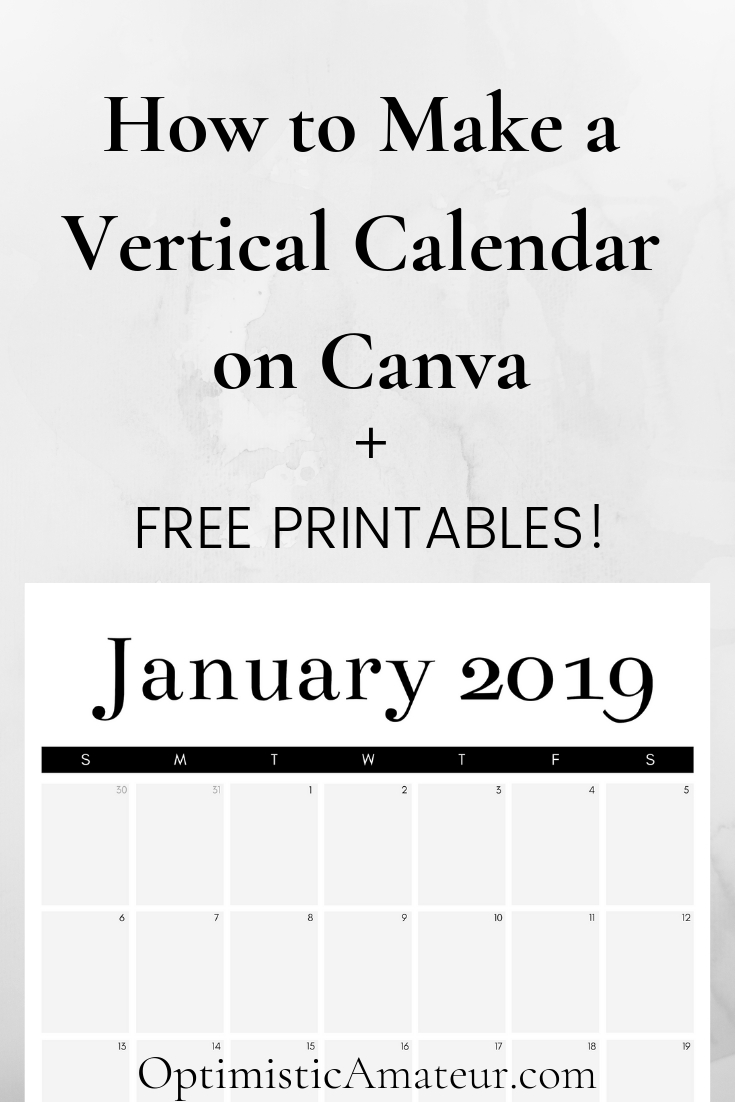 How To Make A Vertical Calendar On Canva