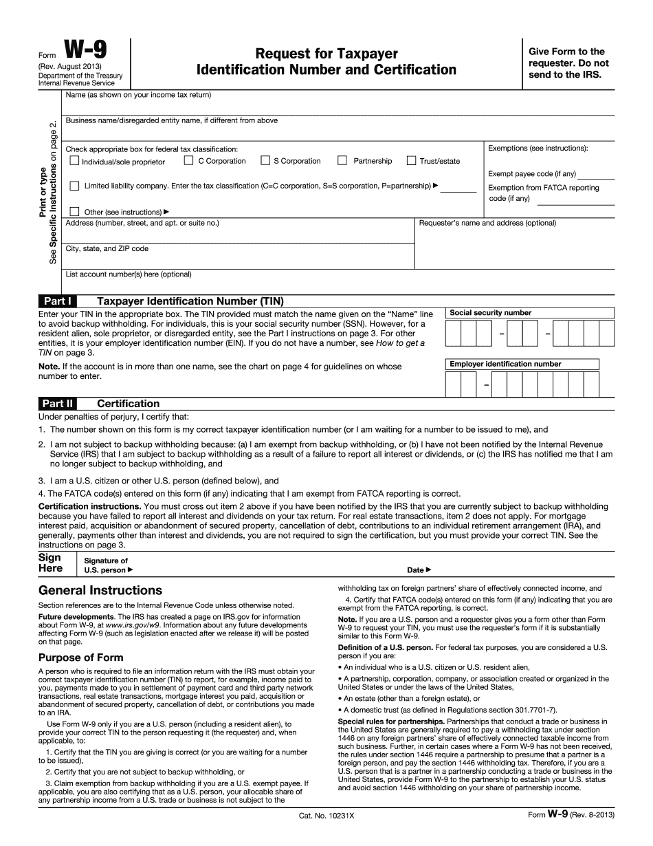 Irs W-9 Form 2013 - Download Samples In Pdf