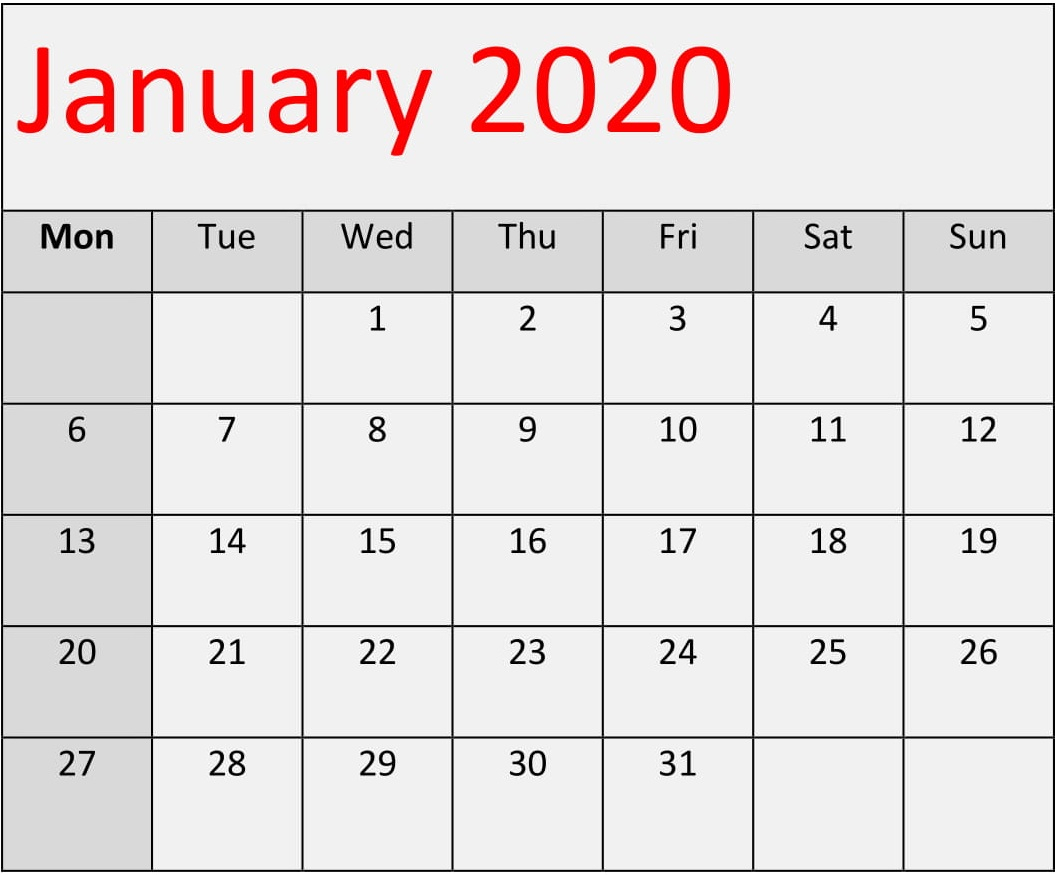 January 2020 Calendar Template For Word, Excel And Pdf