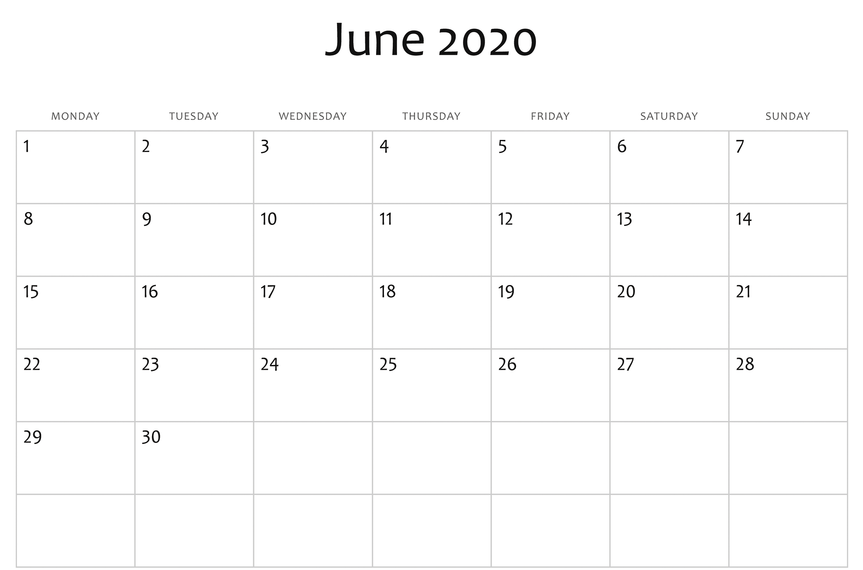 June 2020 Calendar Printable Blank Template Pdf Word Excel