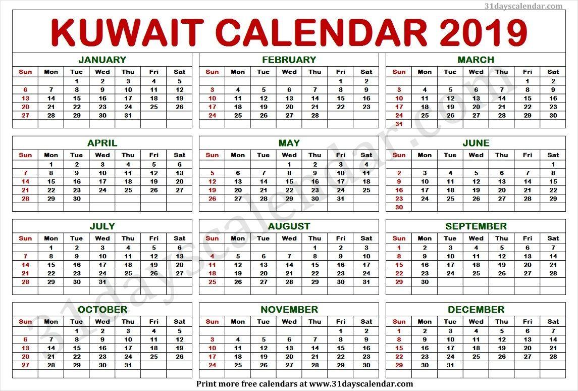 Kuwait 2020 Calendar