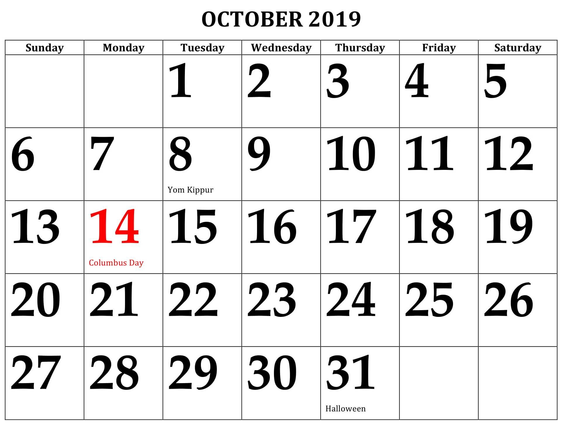October 2019 Calendar Us Federal Holidays - 2019 Calendars