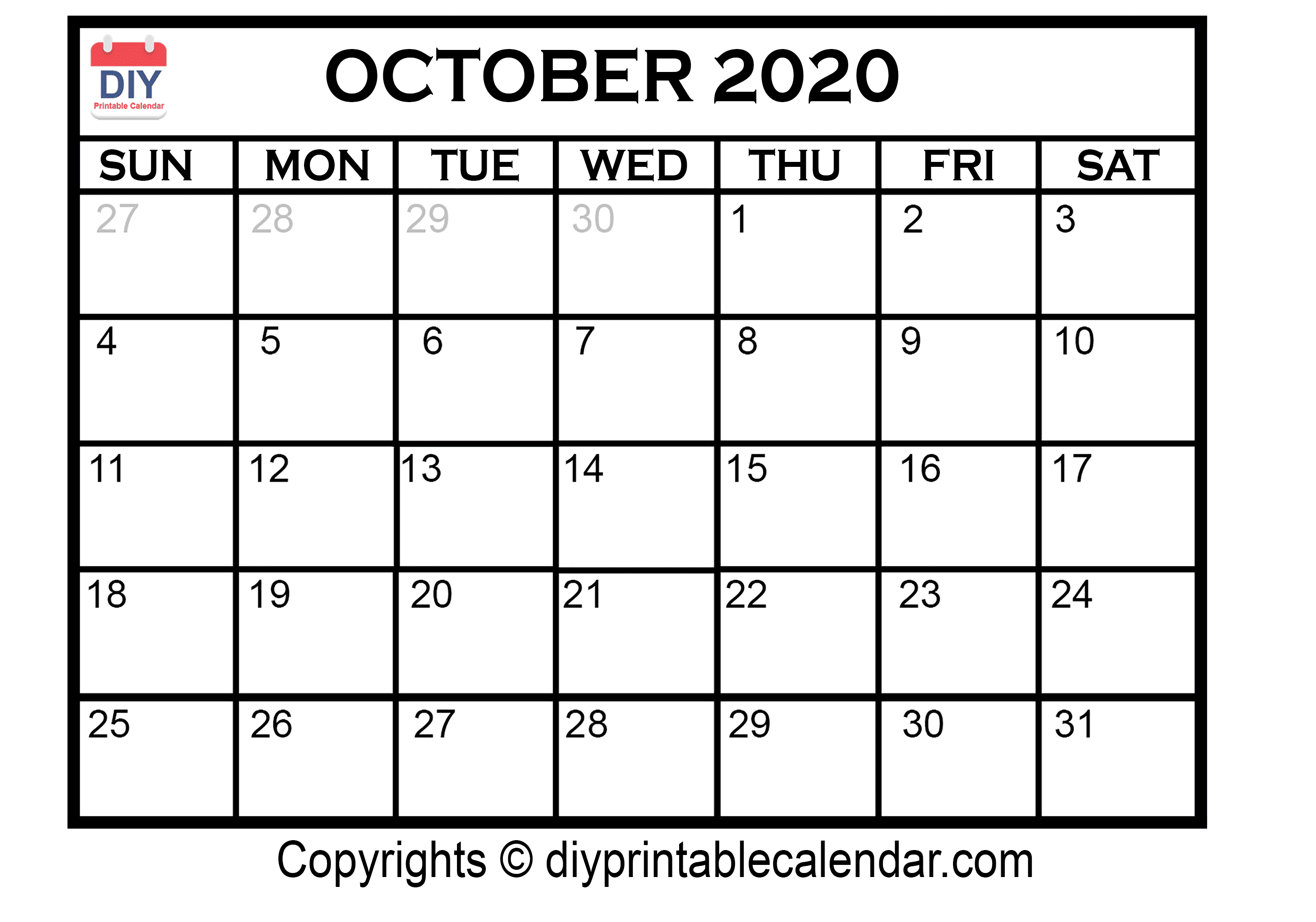 October Editable Calendar 2020 - Wpa.wpart.co