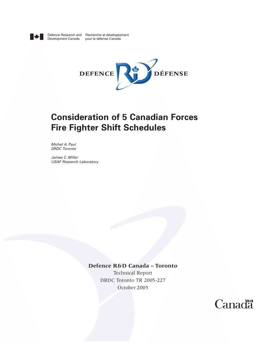 Pdf) Consideration Of 5 Canadian Forces Fire Fighter Shift
