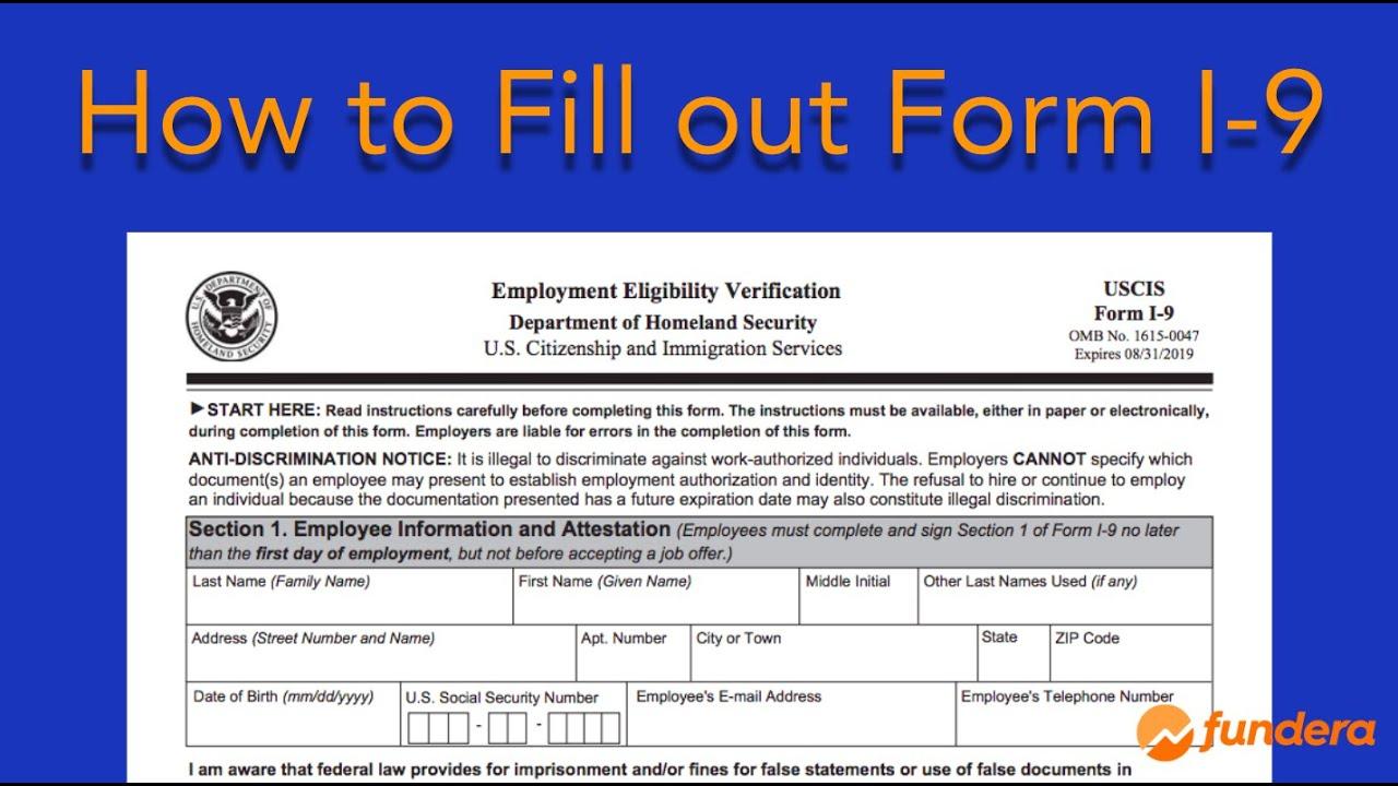Printable Blank I-9 Form 2020