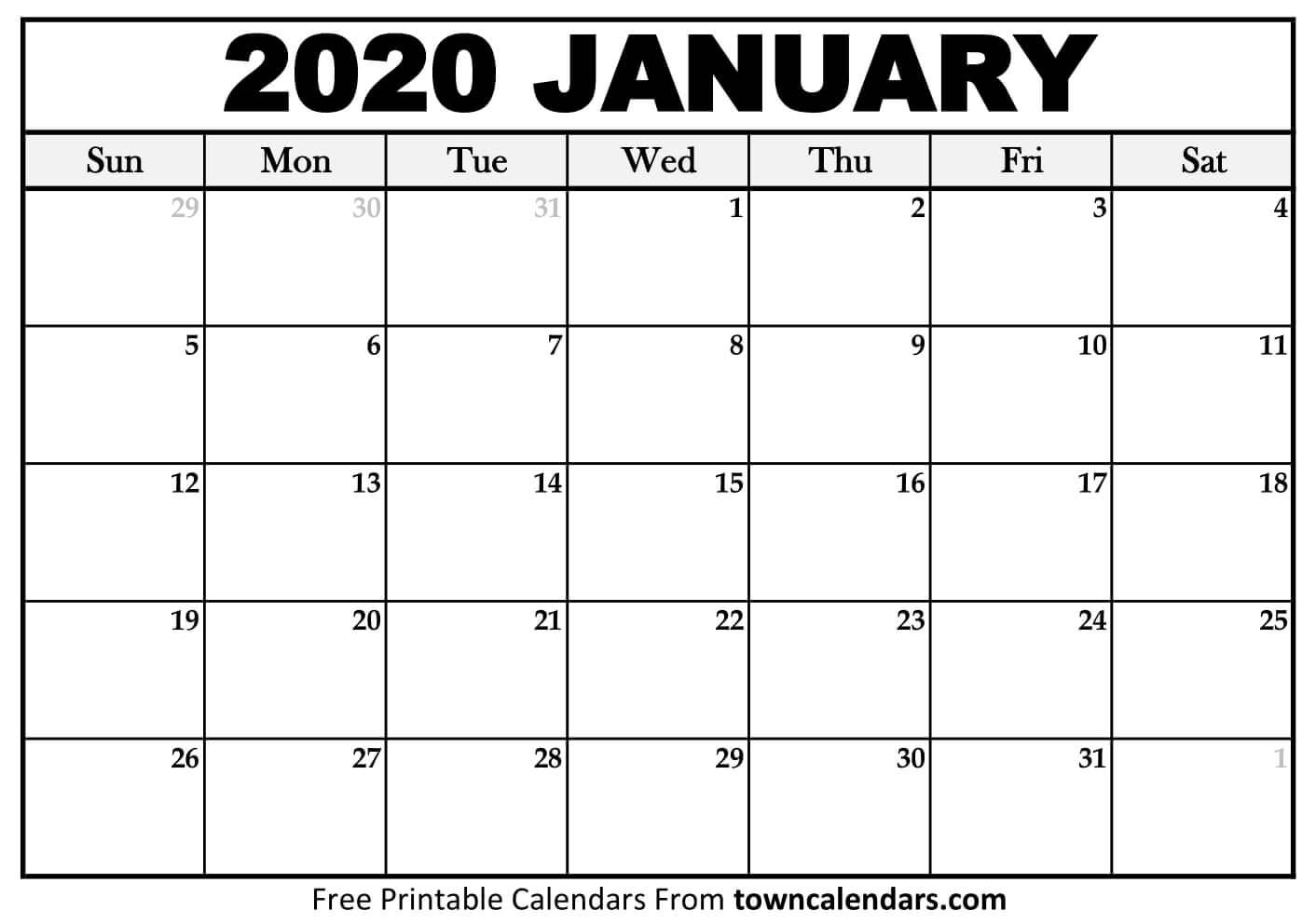 Printable Calendar Jan 2020