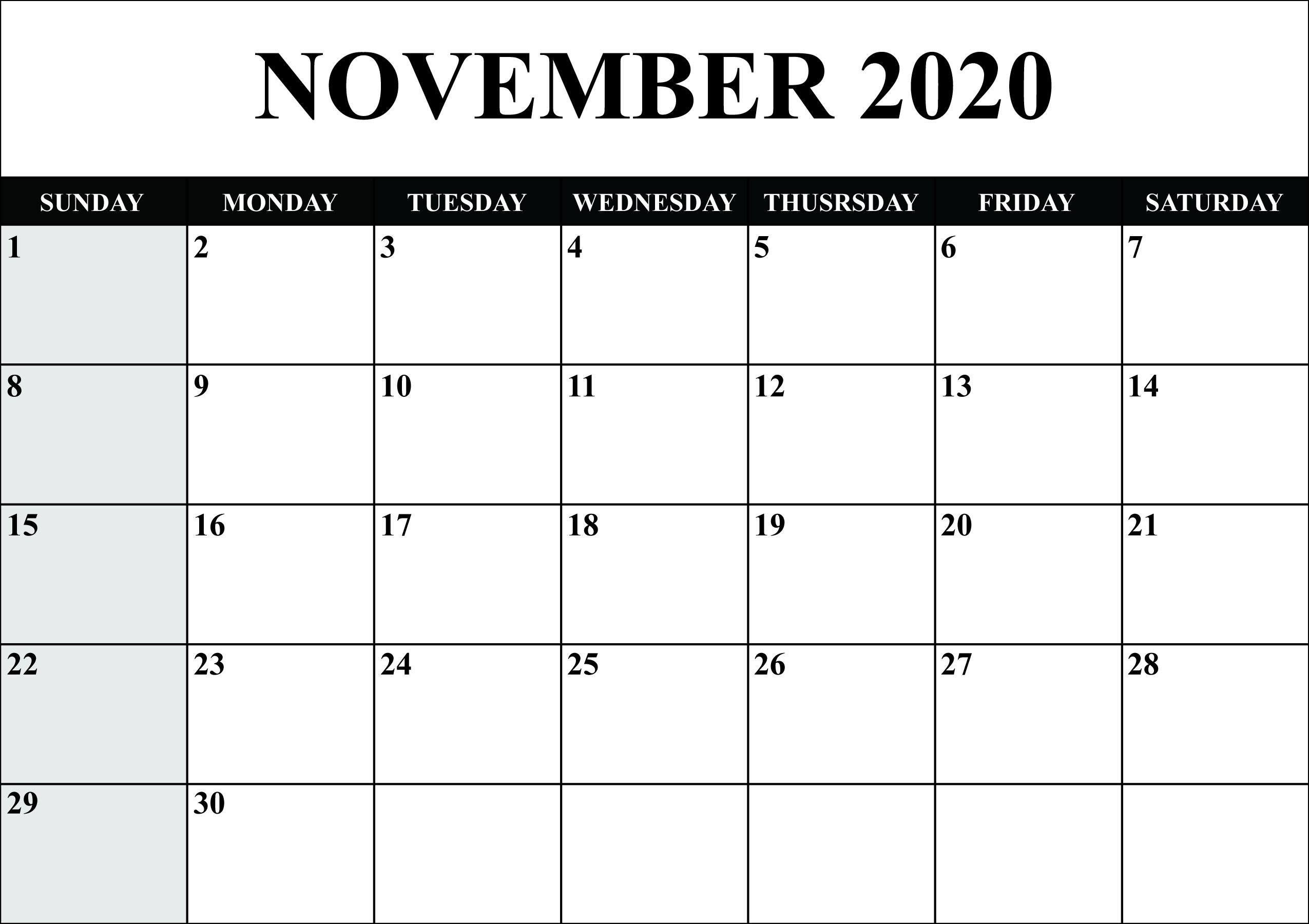 Printable Monthly Calendar 2020 Word - Wpa.wpart.co
