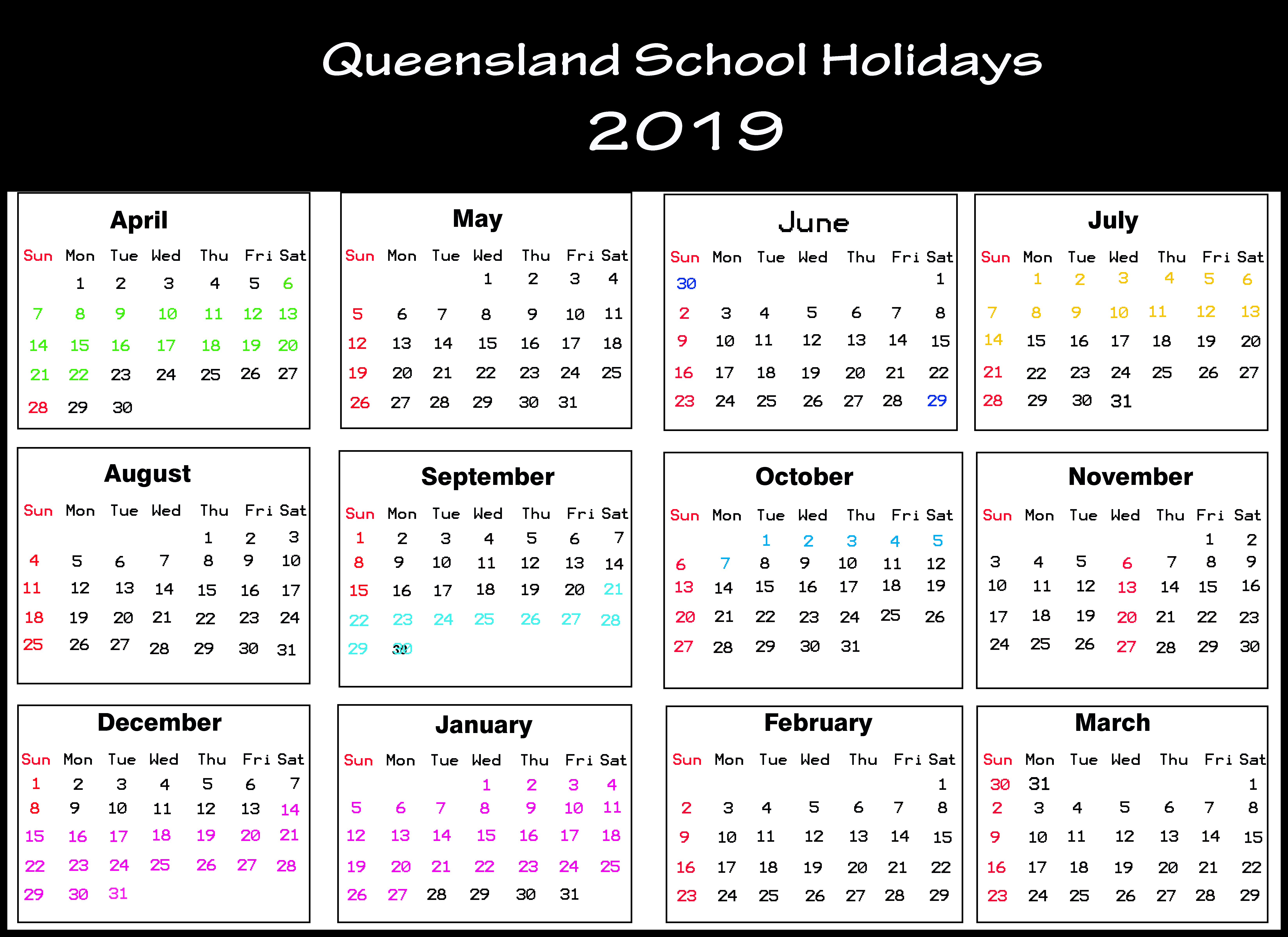 Queensland (Qld) School Holidays