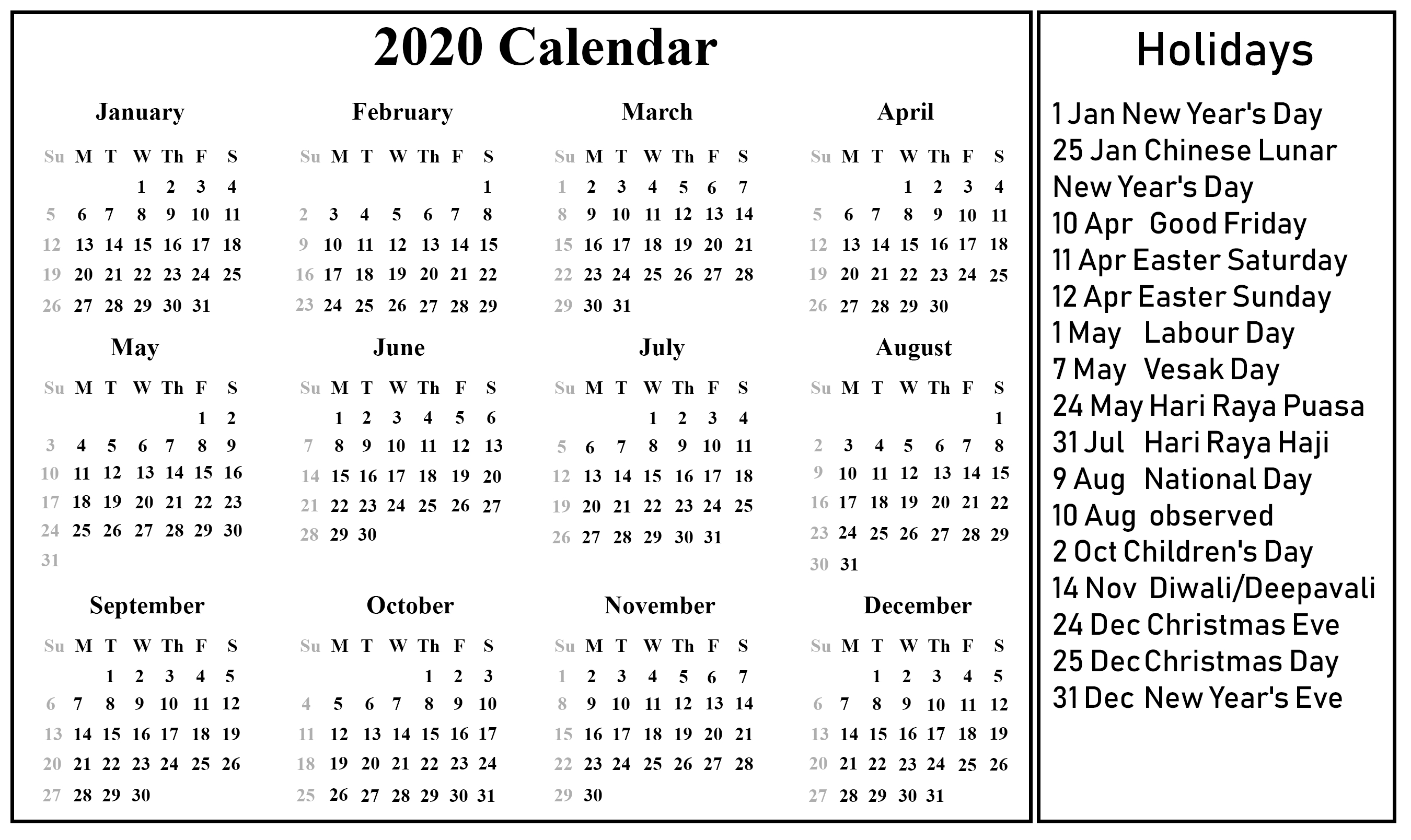 Sri Lanka Calender 2020