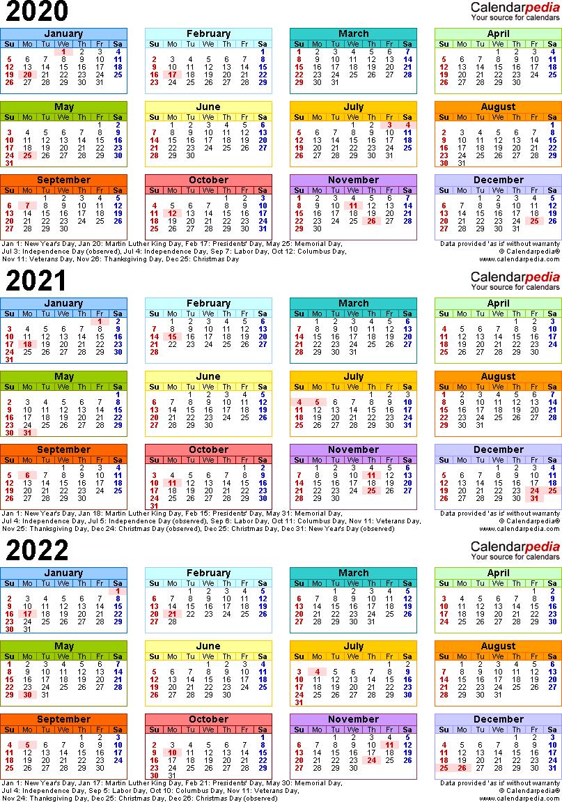 Three Year Calendar 2020 2021 2022 | Calendar Printable Free