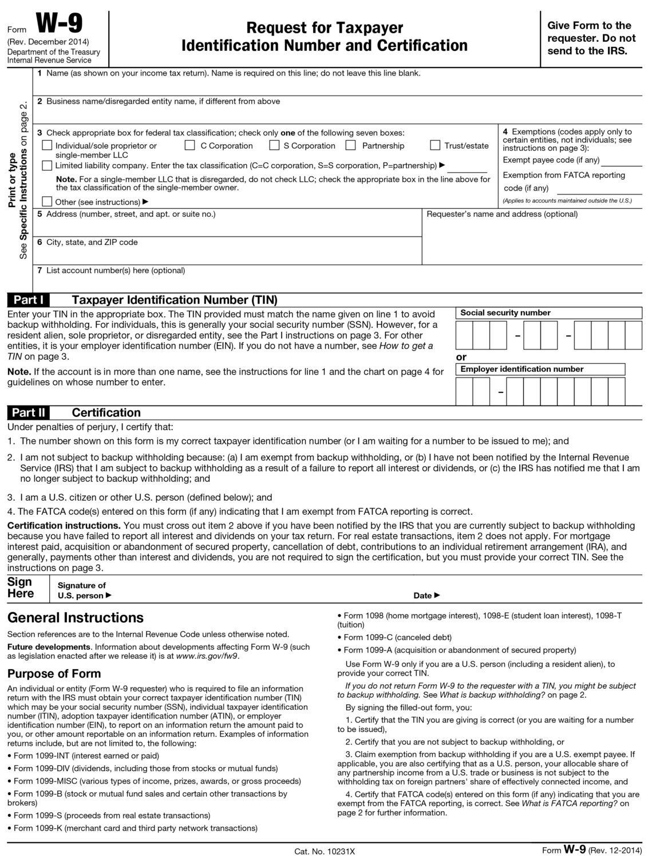 W-9 Form 2020