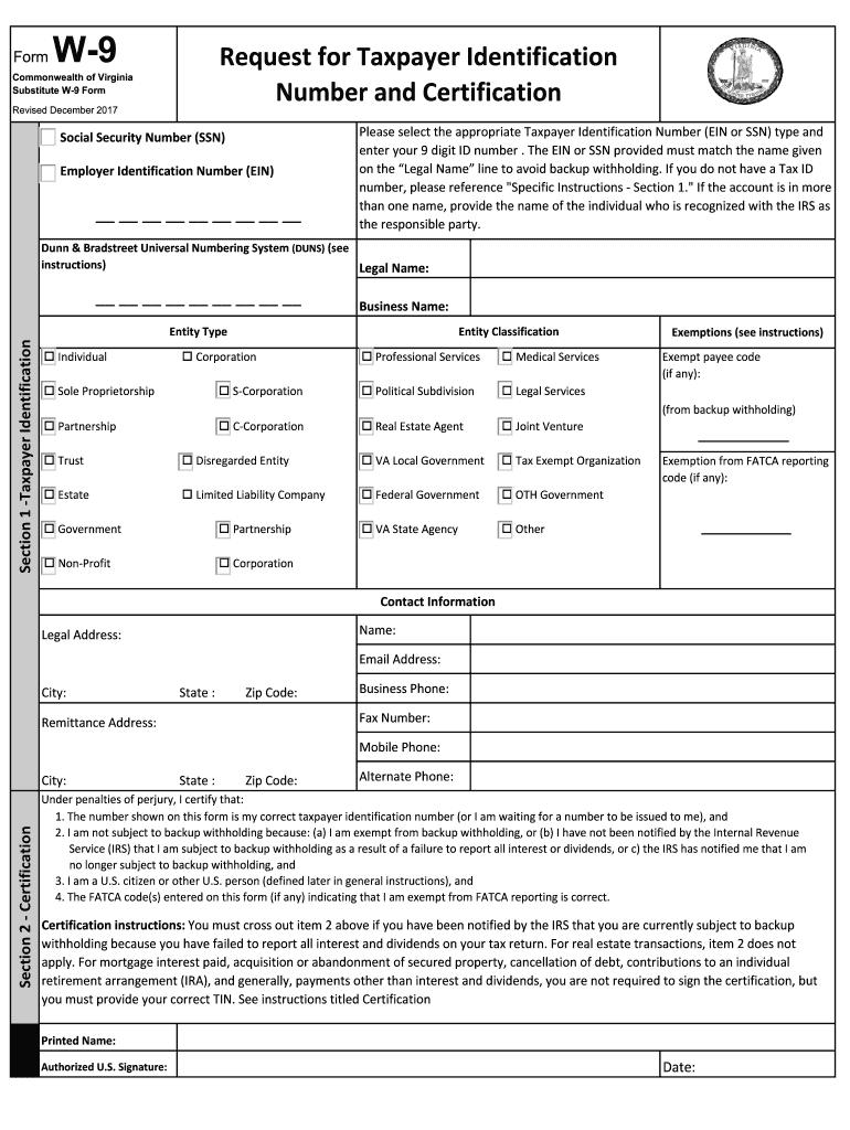 2017-2021 Form Va Substitute W-9 Fill Online, Printable