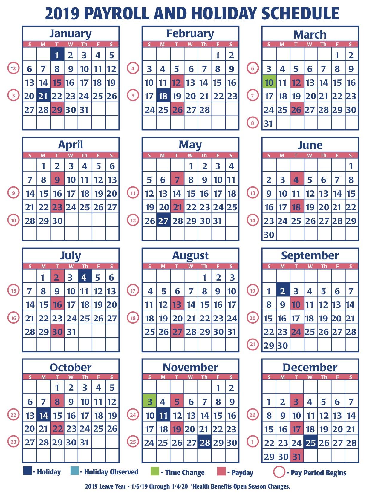 2019 Faa Payroll Calendar