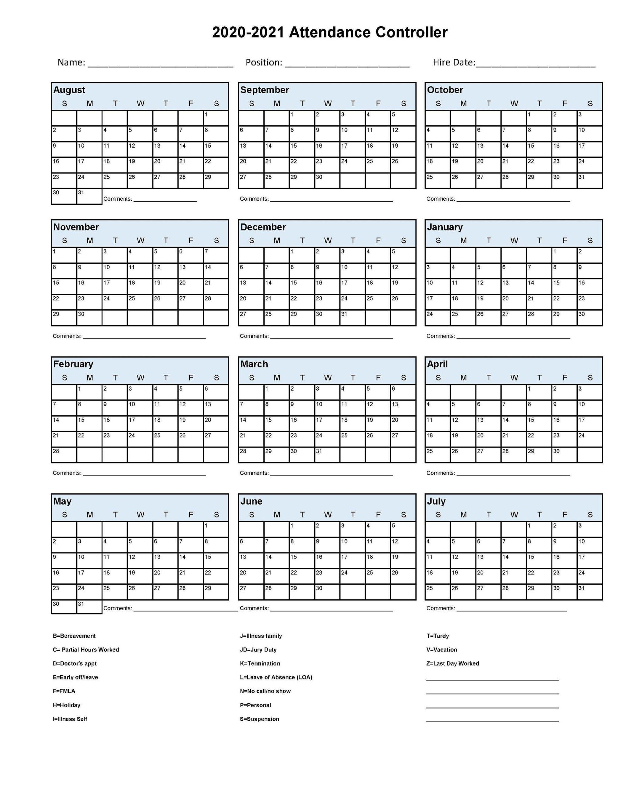 2020 2021 Employee School Attendance Tracker Calendar