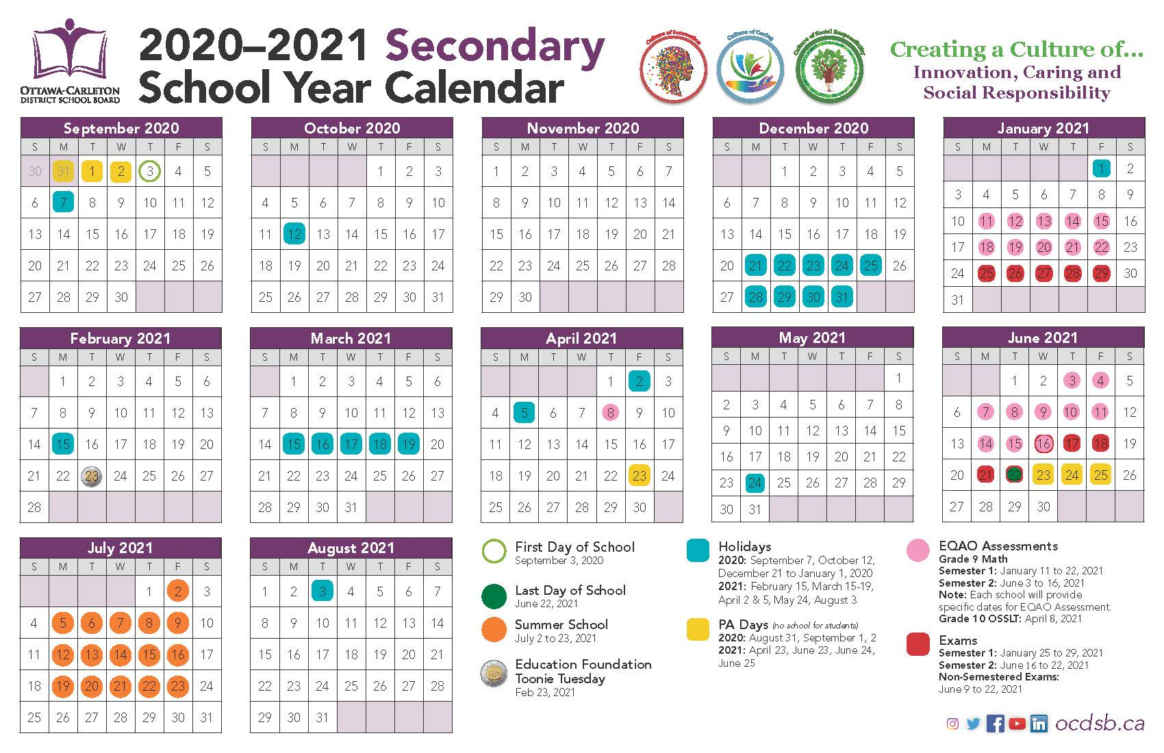 2020-2021 School Year Calendar Approvedthe Ministry