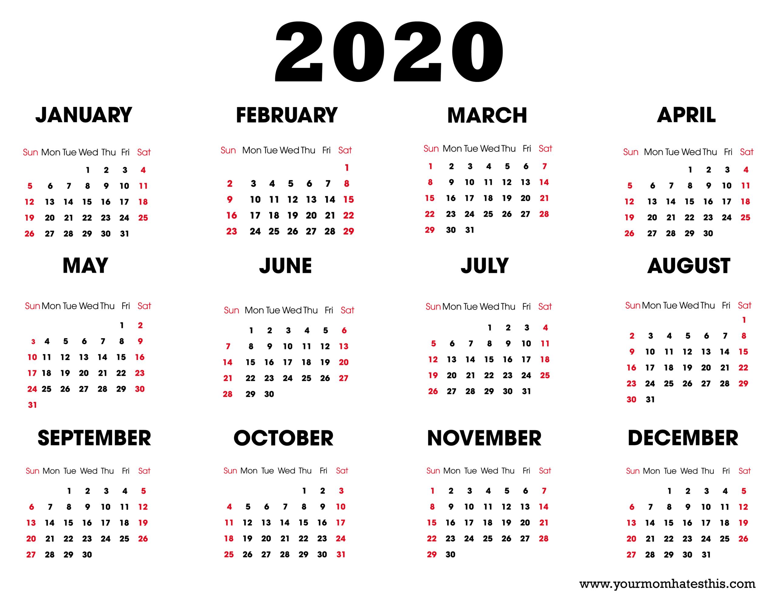 2020 Calendar Leap Year – Print Calendar Page