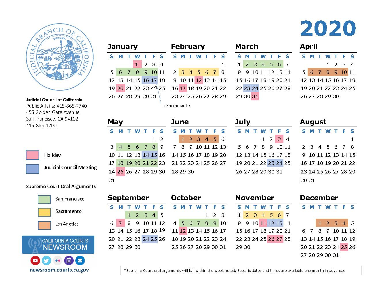 2020 California Courts Calendar