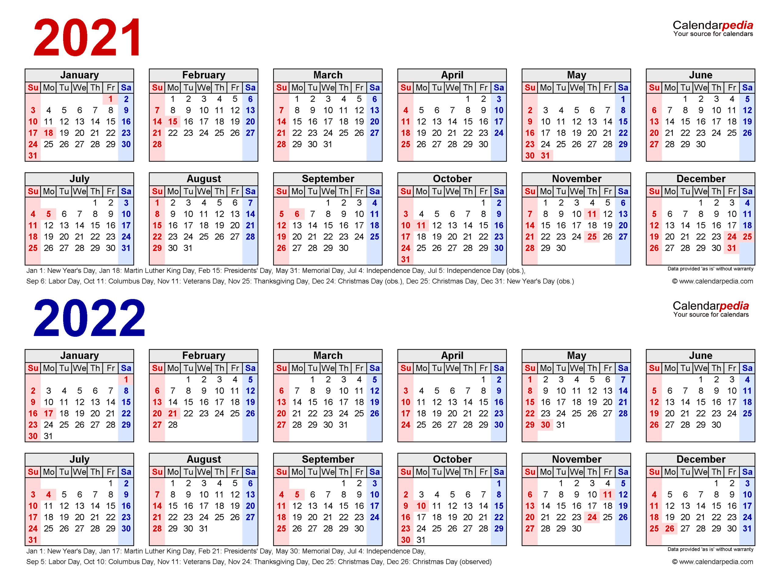 2021-2022 Two Year Calendar - Free Printable Pdf Templates