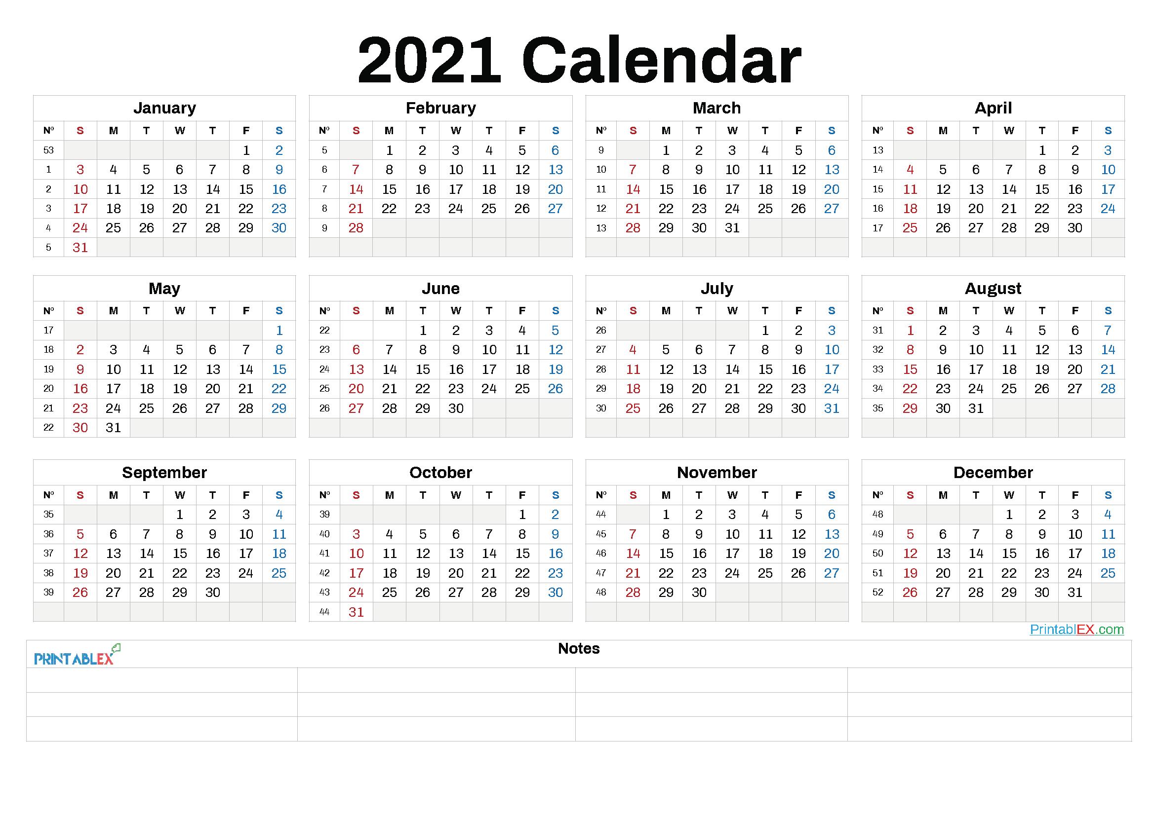 2021 Annual Calendar Printable – 6 Templates – Free