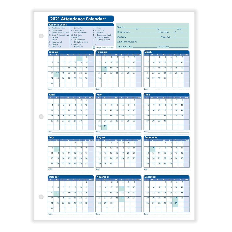 2021 Attendance Tracker Calendar