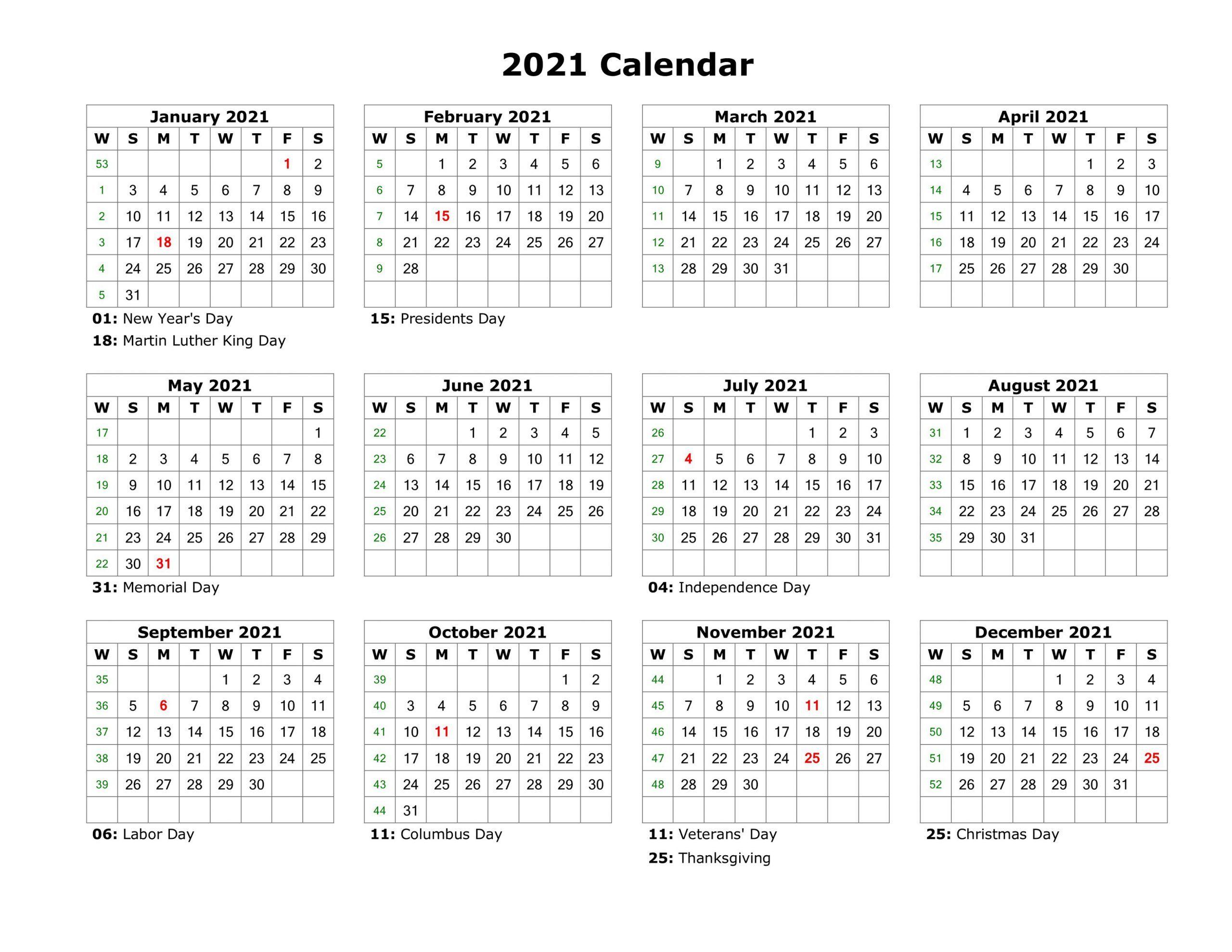 2021 Calendar Free Printable