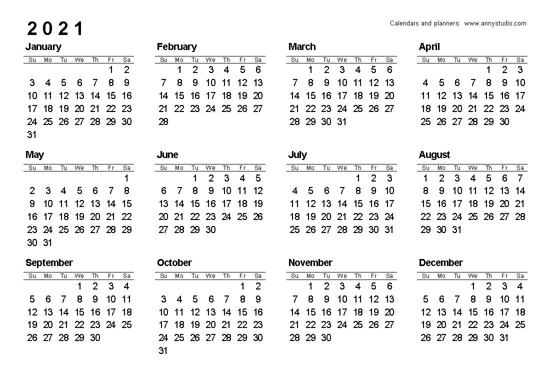 2021 Calendar Landscape Printable