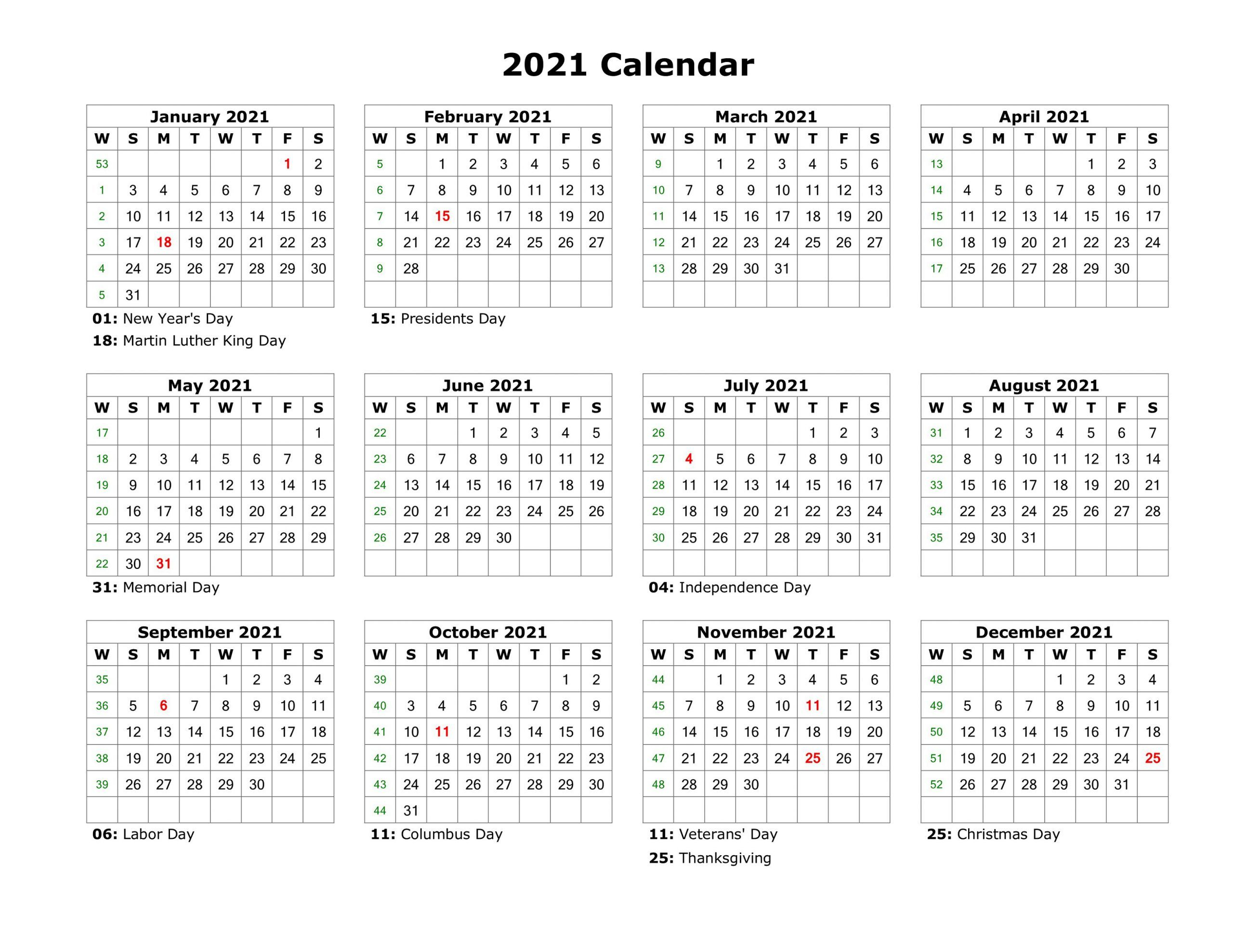 2021 Calendar One Page Free Printable