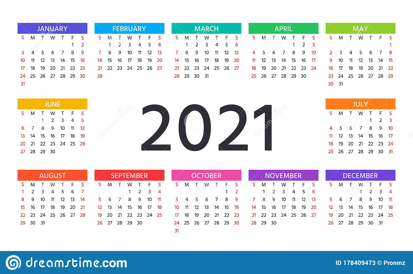 2021 Calendar. Vector Illustration. Template Year Planner
