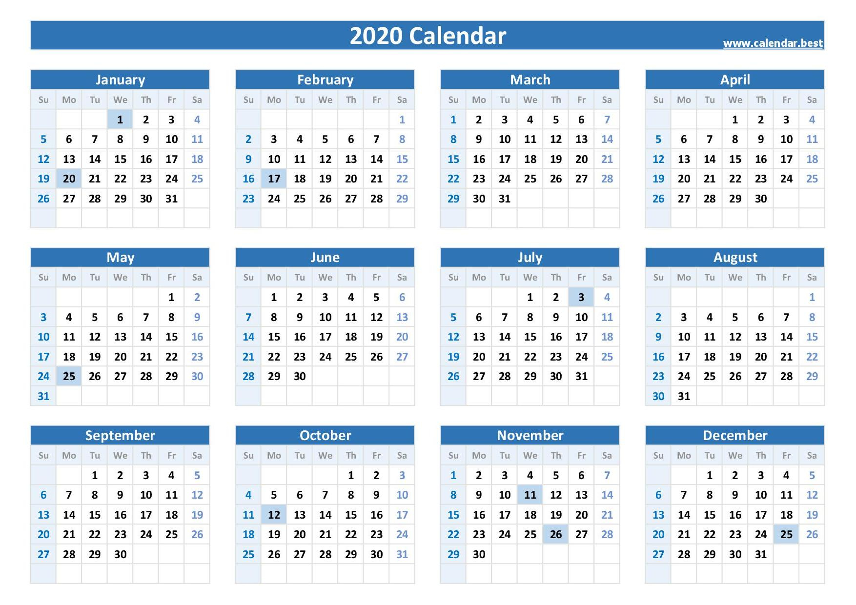 2021 Calendar With Federal Holidays