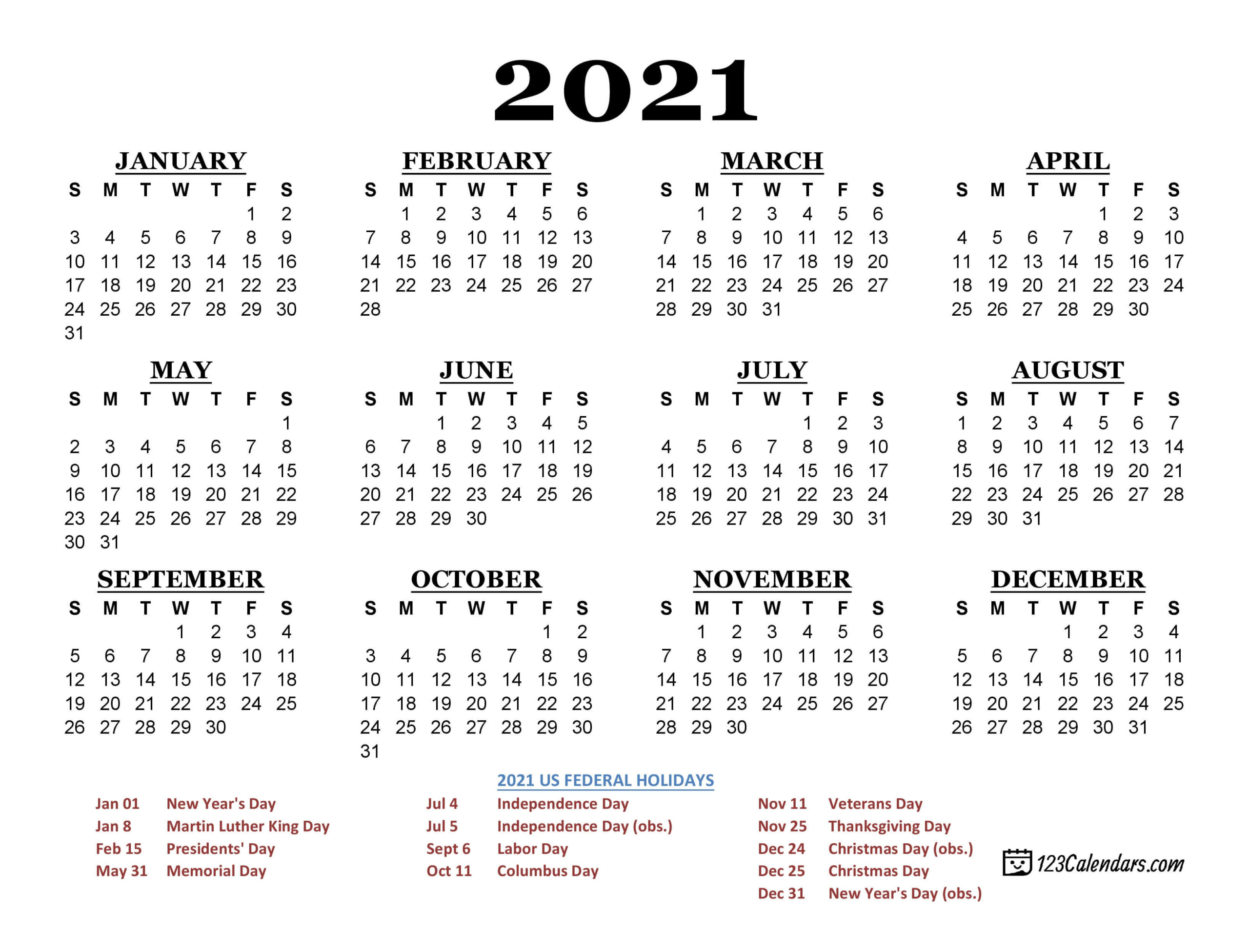 2021 Calendar With Federal Holidays Printable