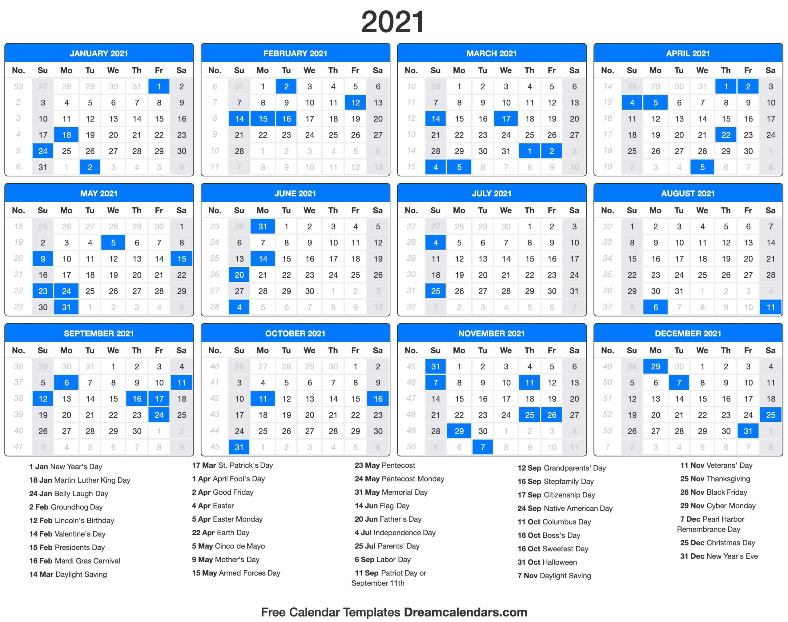 2021 Calendar With Holidays - Dream Calendars