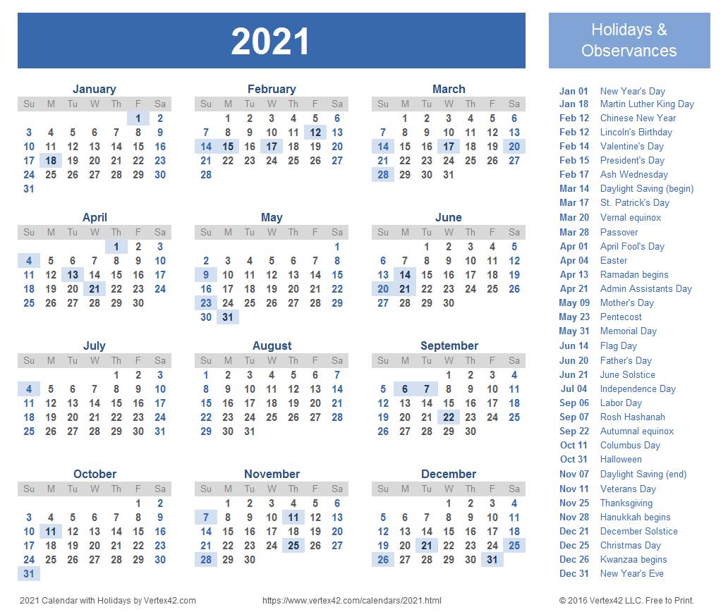 2021 Calendar With Holidays Printable