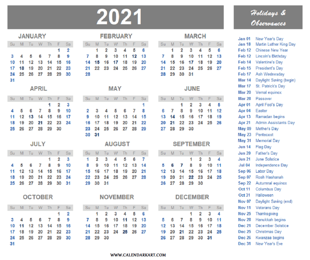 2021 Calendar With Us Holidays