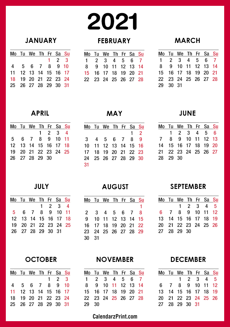 2021 Calendar With Us Holidays, Pdf – Printable, Red, Ms