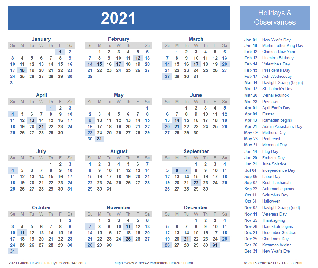 2021 Calendars To Print